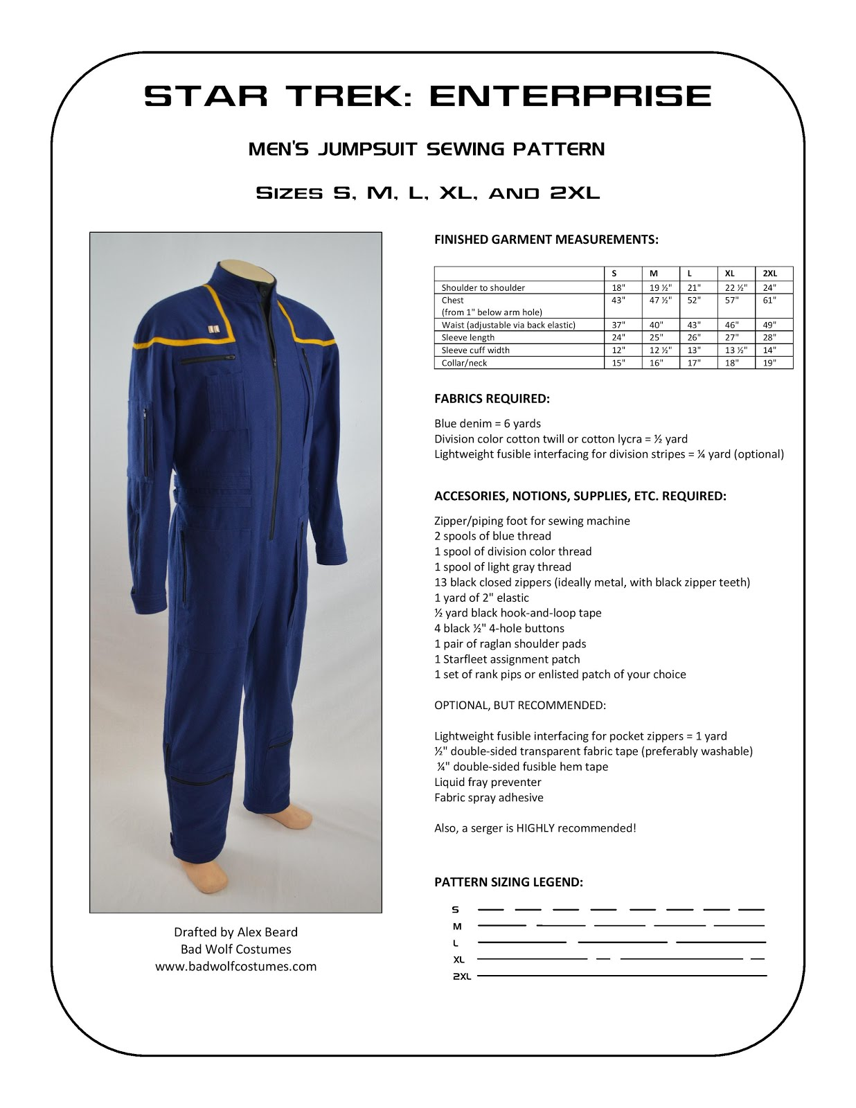 Star Trek: Enterprise Men's Jumpsuit Sewing Pattern