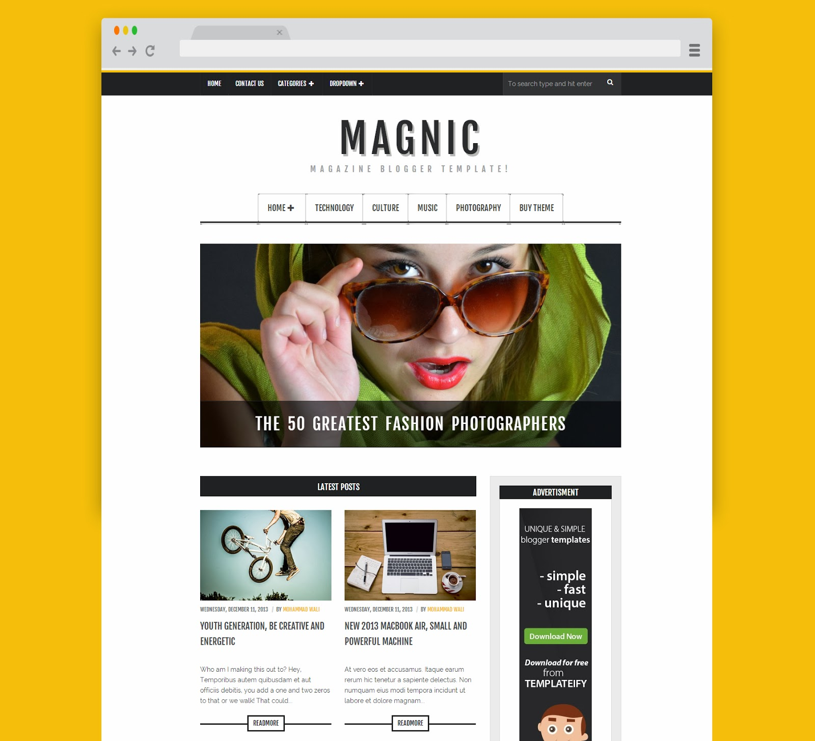 Magnic Responsive Blogger Template