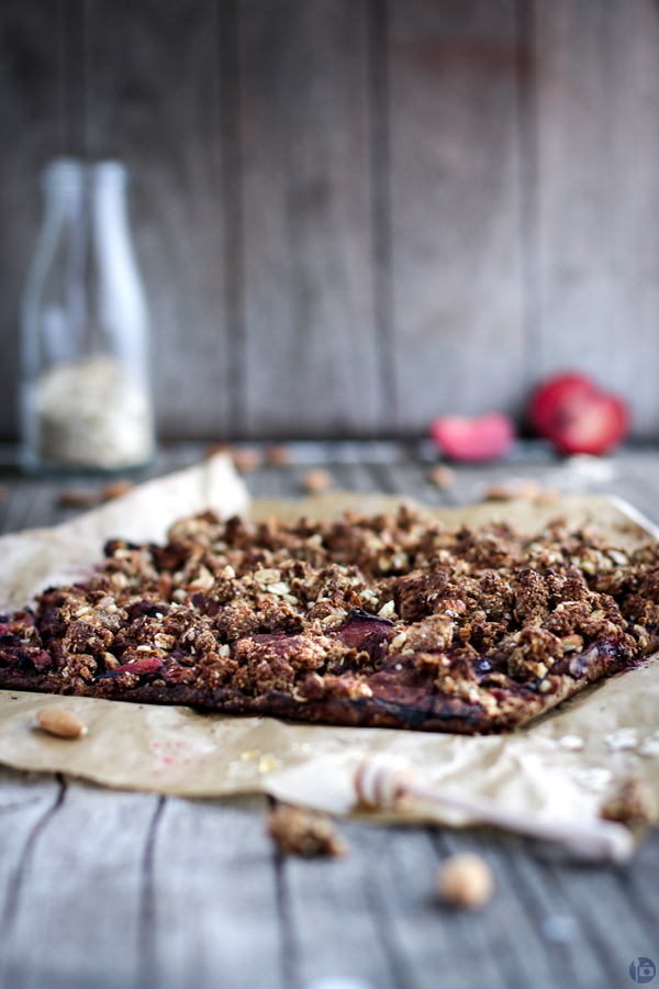 Plum Crumble Squares with honey and oats