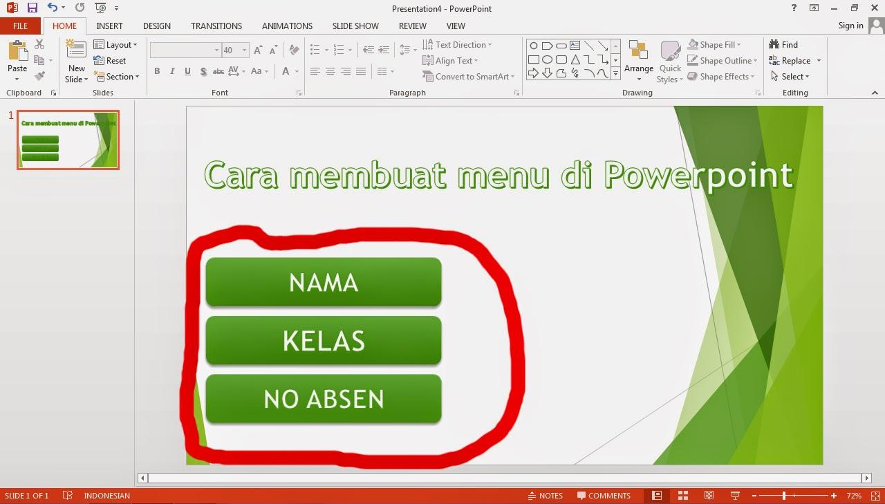 Cara membuat Menu Sederhana di PowerPoint