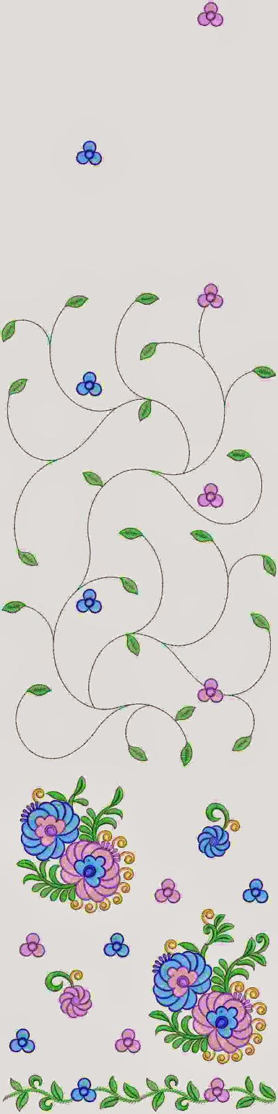 blomme Applique meng Multi Sari ontwerp