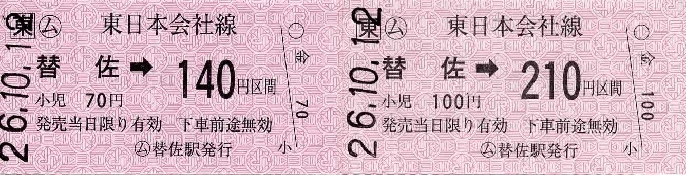 JR東日本 替佐駅 常備軟券乗車券1 金額式