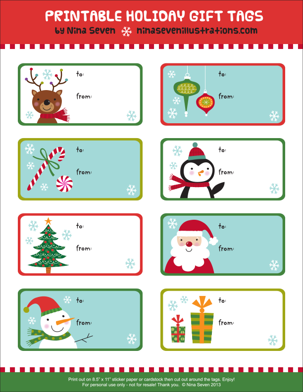 Lucrative image for christmas gift tags printable