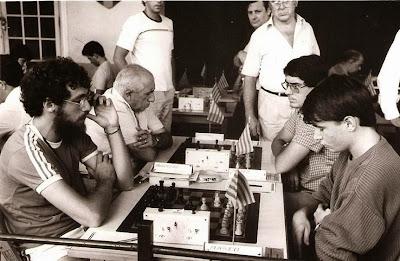 Algunos ajedrecistas participantes en el Open Internacional de Manresa 1985