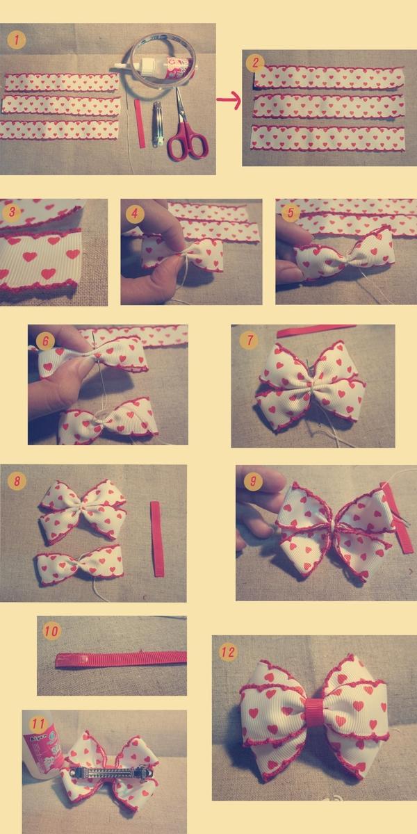 Как сделать бантик-заколку из ленты своими руками