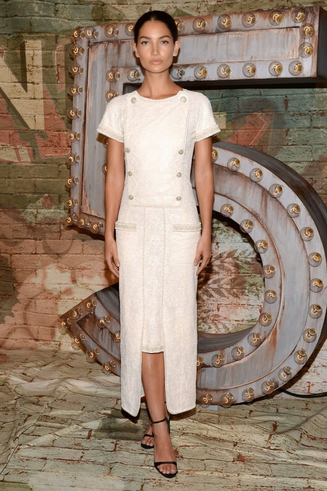 Lily Aldridge is elegant in white at 'No. 5 The Film by Baz Luhrmann' launch in NYC