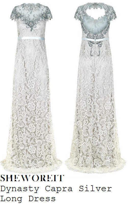 ferne-mccann-cream-silver-embellished-mesh-detail-cap-sleeve-lace-maxi-dress-gown-national-television-awards