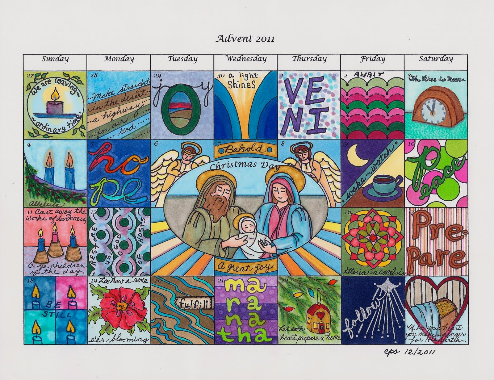 Advent Calendar Bulletin Board : Mostly markers advent calendar