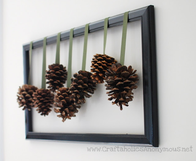 Wall art with pinecones tutorial