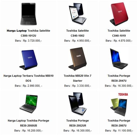HARGA Laptop Merk Toshiba TERBARU Tahun 2013 dengan harga diatas 10