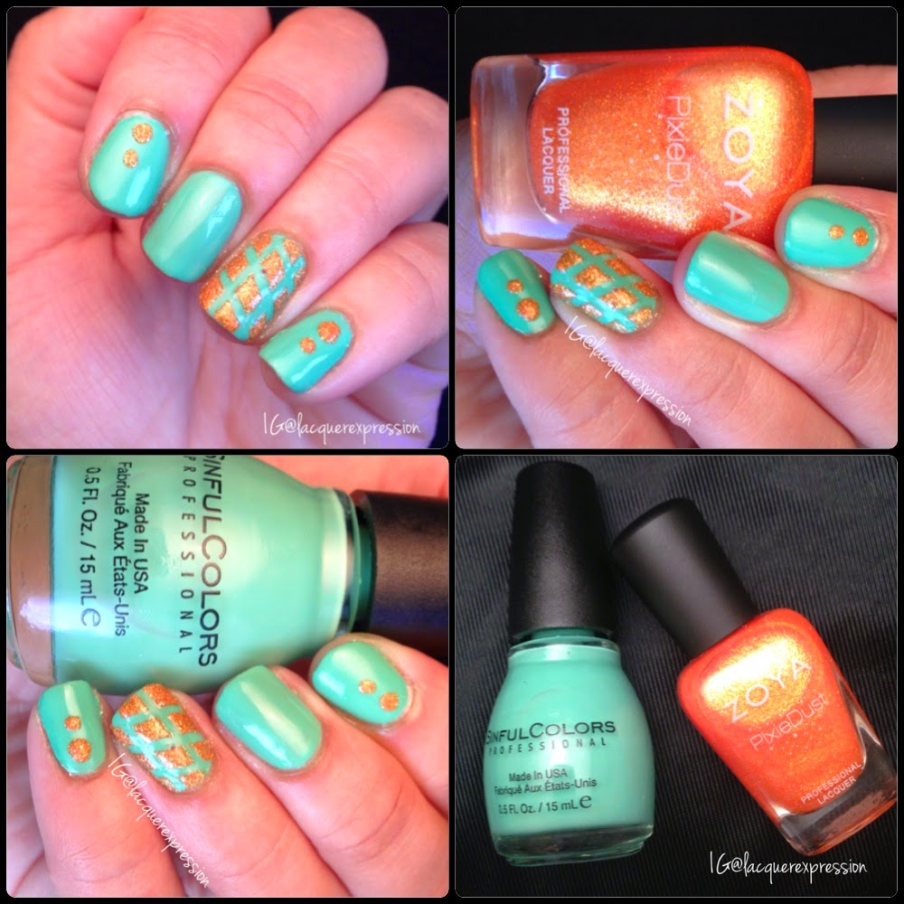Diamond pattern and dots nail art using Mint Tropics by Sinful Colors Professional,  Beatrix by Zoya, nail vinyls and a dotting tool.