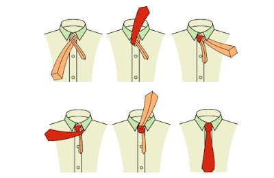 НО, но, мне надо завязать галстук.  Я вот когда его беру, там.