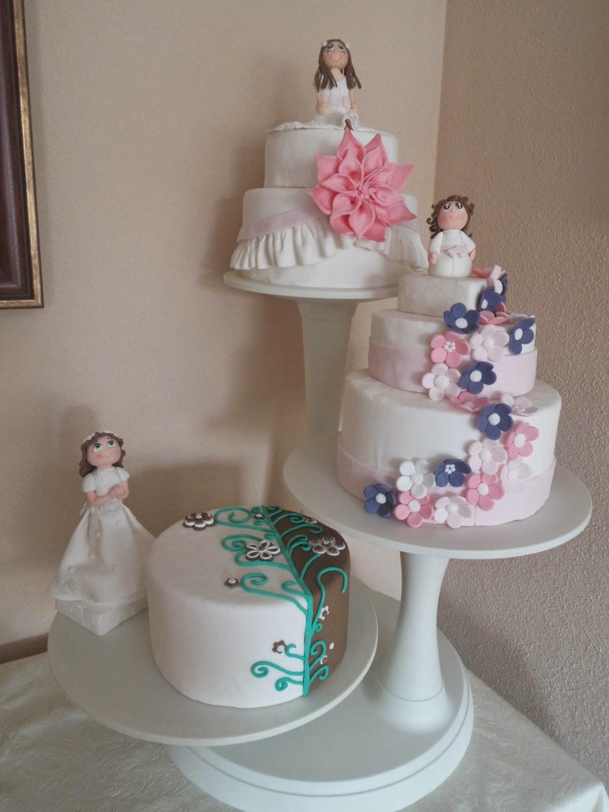 pasteles de primera comunion de tres pisos