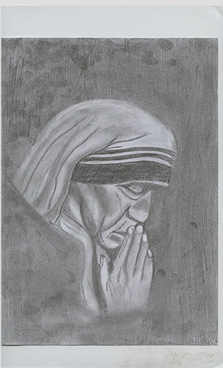 I do pencil sketches but my first attempt was mother teresa god only knows why he made me draw her but it turned out well but not to my satisfaction