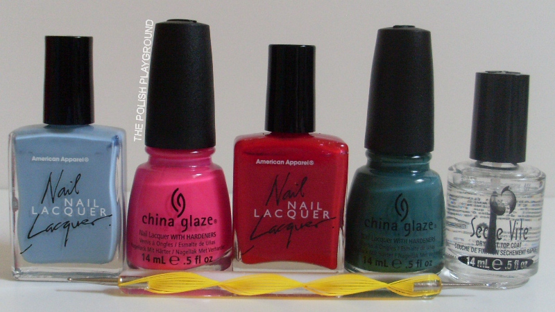 American Apparel, China Glaze, Seche Vite, dotting tool