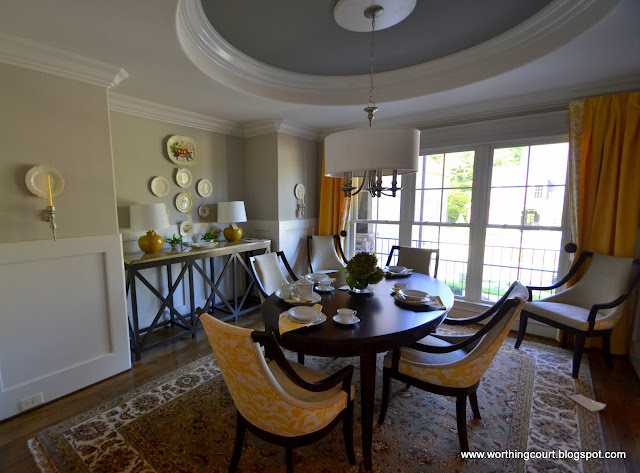yellow and gray dining room via Worthing Court blog