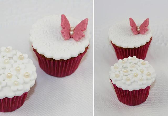 Minicupcakes i rosa och vitt