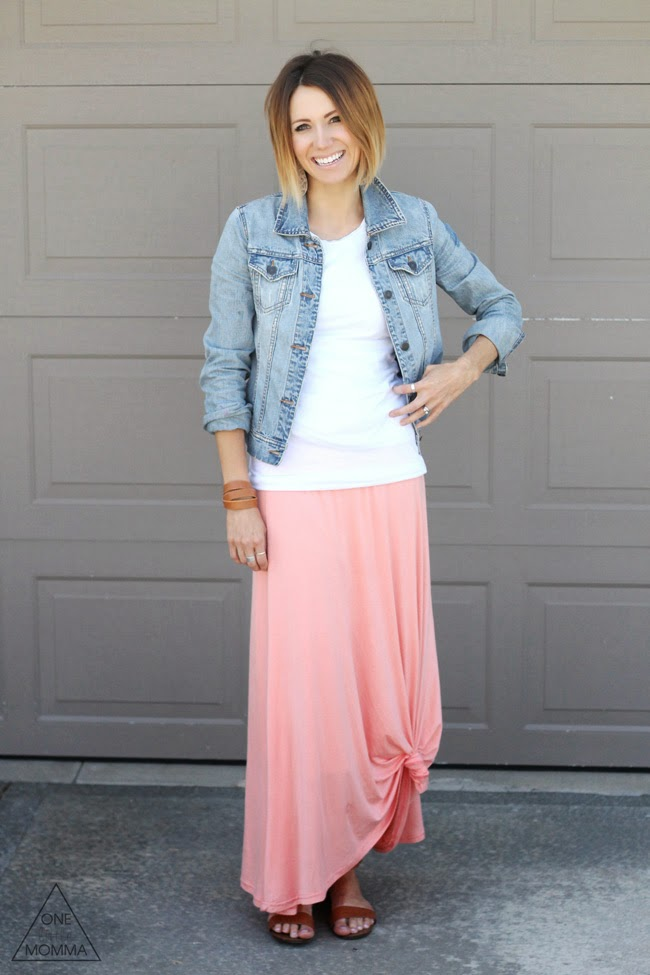 sunday style maxi skirt and a denim jacket one