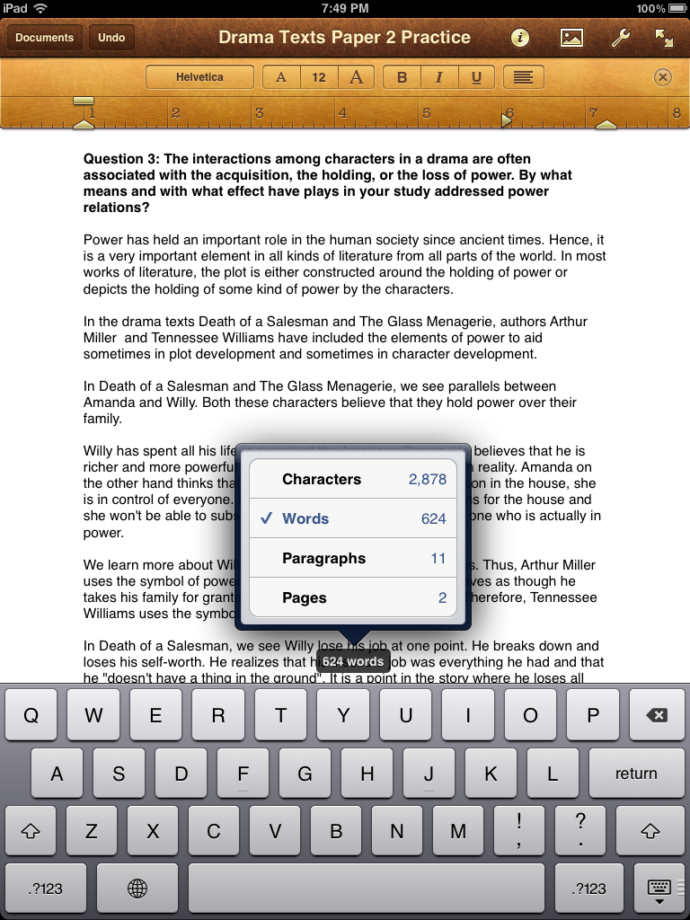 RNIT: More Word Count options in Pages for iPad