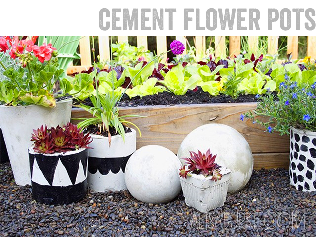alisaburke cement flower pots. Black Bedroom Furniture Sets. Home Design Ideas