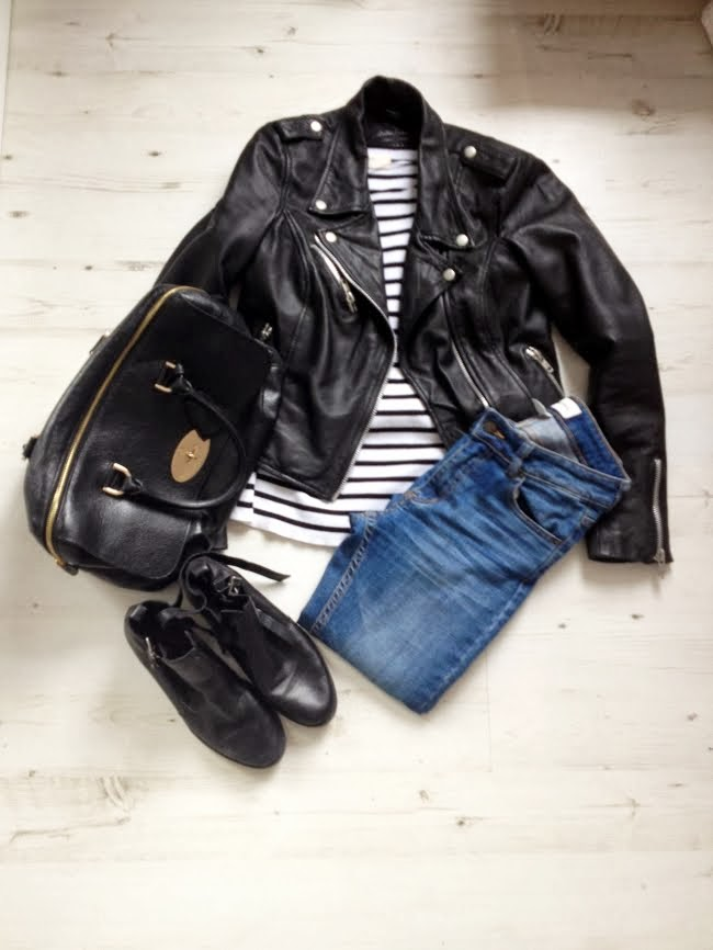 zara breton top, zara leather jacket, monki diana jeans, river island cut out boots black, black mulberry del rey