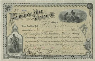 stock certificate of the Tombstone Mill and Mining Company