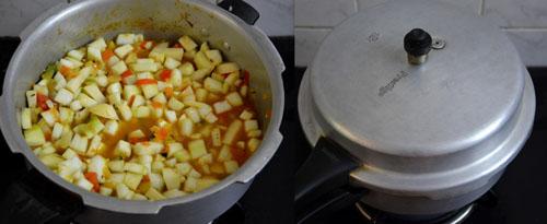 quick bottlegourd gravy in pressure cooker