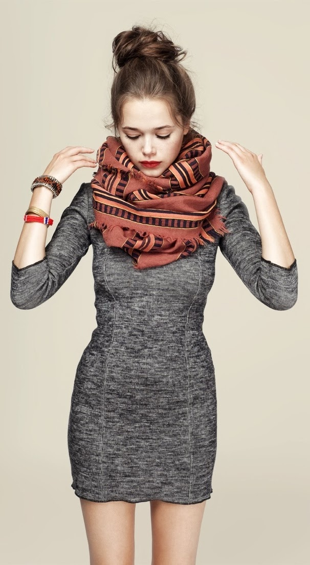 Fall fashion trend with 3/4 Sleeve cute dress and scarf