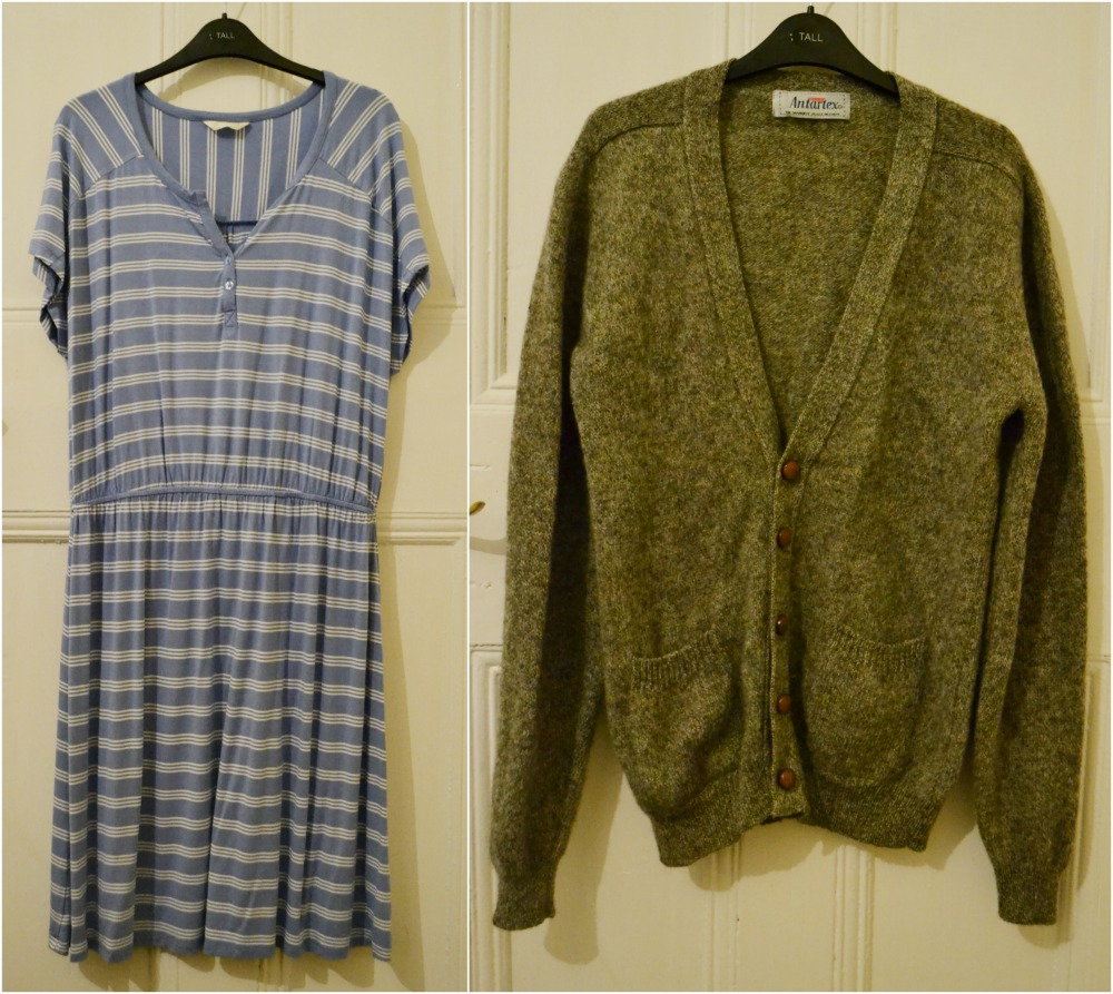 charity shops purchases bhs dress new blue stripes wool mens cardigan