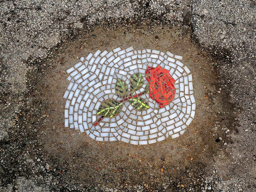 mosaic flowers potholes chicago art