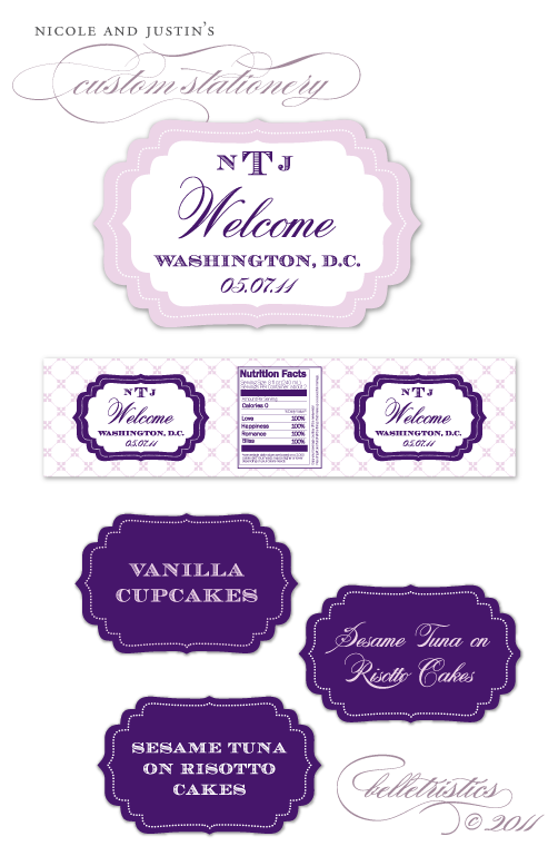 purple lavender printable scalloped bracket frame label designs