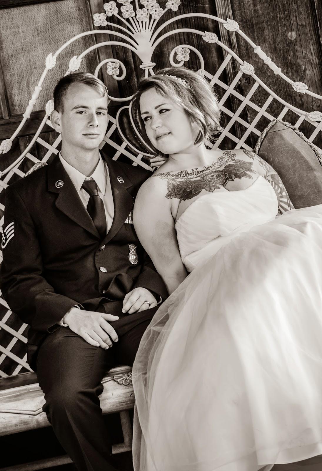 military wedding couple