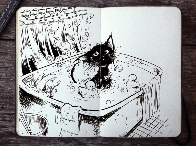 16-Bath-Day-Gabriel-Picolo-365-Days-of-Doodles-end-of-2014-www-designstack-co