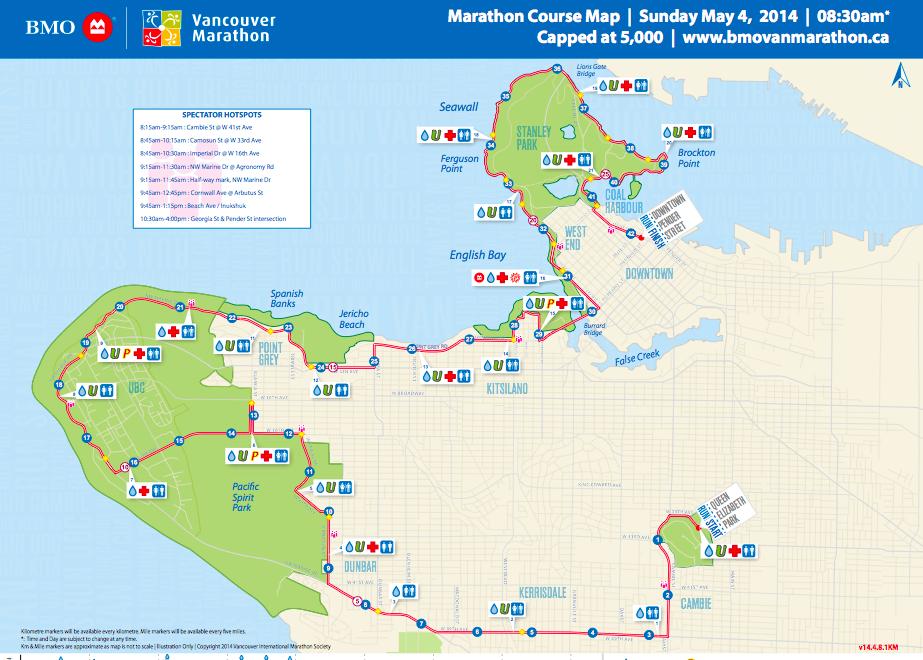 2014 BMO Vancouver Marathon course map
