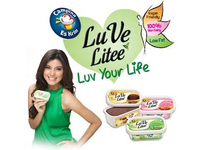 Luve Litee, Es Krim Lowfat, 100% Non Dairy, Green Tea, Chocolate, Raspberry Rosella
