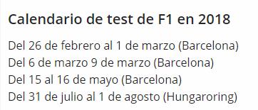 CALENDARIO TEST F1- 2018
