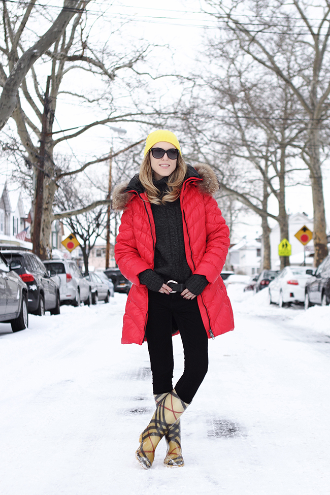 "An idea about how to wear bright colors in winter: ""Winter Brights"" by Victoria of ""The Wind of Inspiration"": wearing yellow beanie + red down coat + black skinny cords + yellow rain boots #twoistyle #style #fashion #personalstyle #fashionblog #ootd #outfit #outfitoftheday"