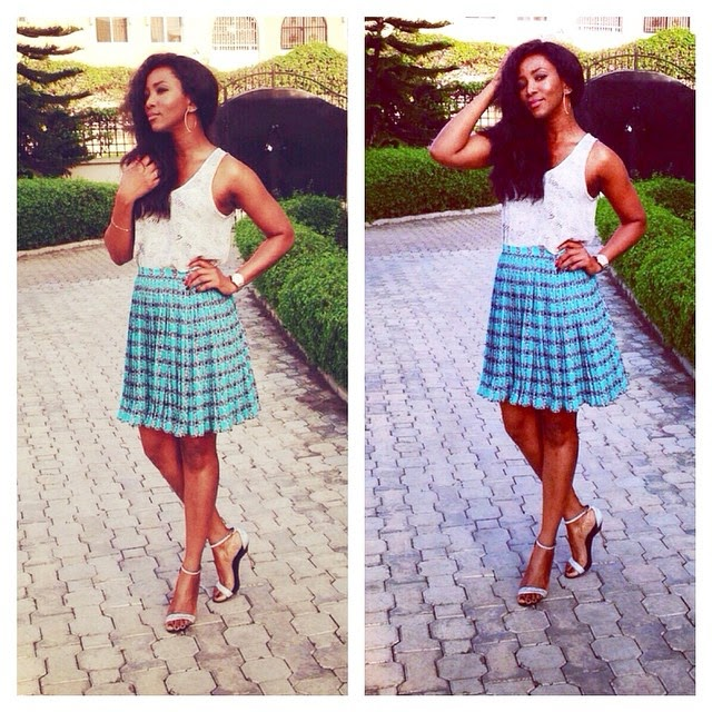 Genevieve Nnaji Looks Ravishing in a Short White and Blue Dress