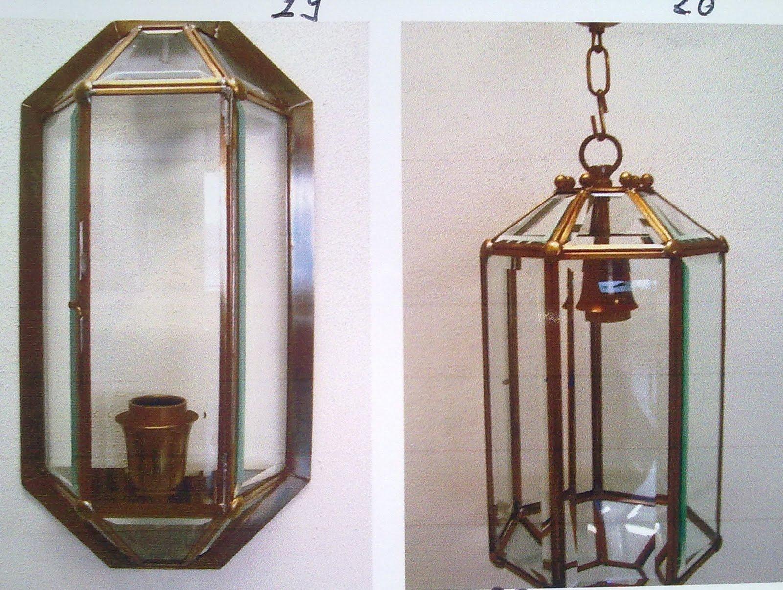 Applique da esterno fiati in ottone rame alluminio e vetro