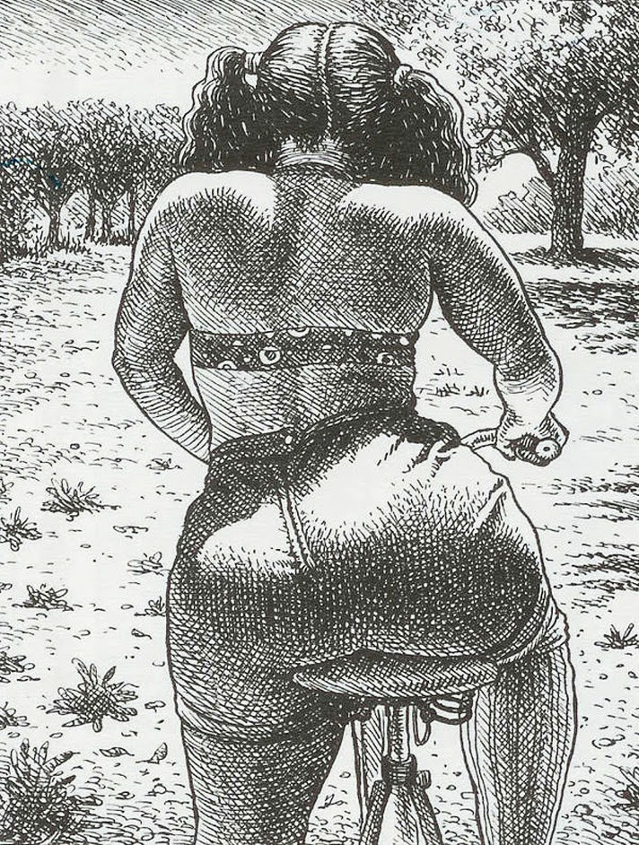 a curvy girl on a bicycle in the summer by Robert Crumb