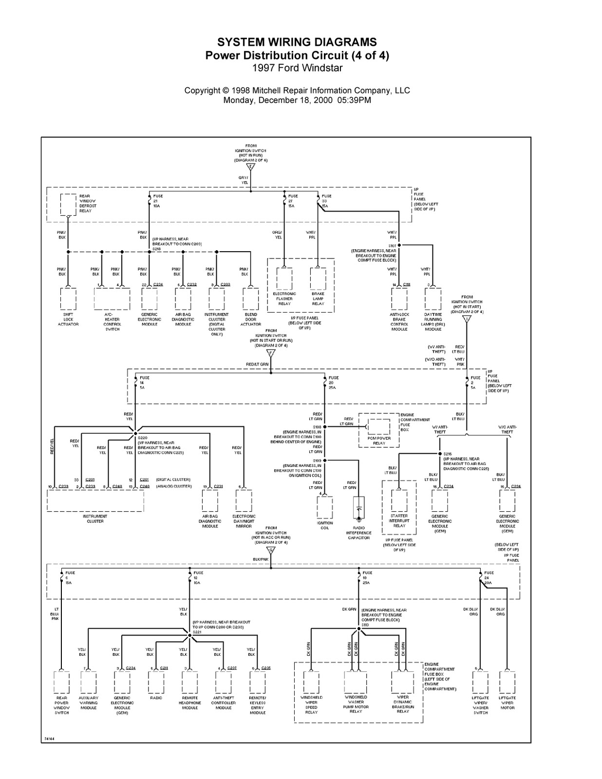 Trailer Wiring Harness For Ford Windstar : Ford windstar complete system wiring diagrams