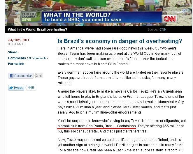 CNN cita Corinthians como pequeno clube e revolta corinthianos