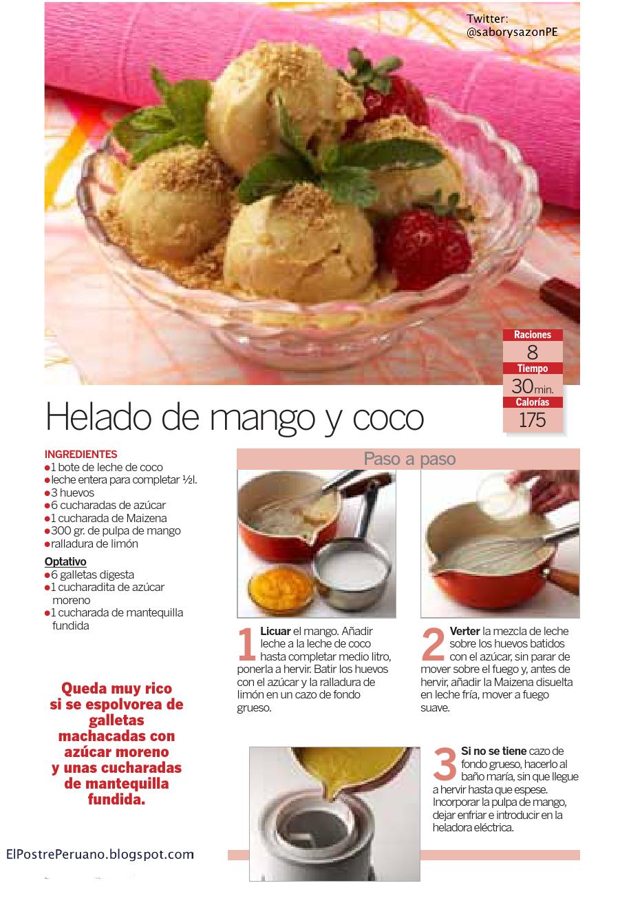 recipes - RECETA DE HELADO DE MANGO Y COCO - REPOSTERIA FACIL - POSTRES RÁPIDOS