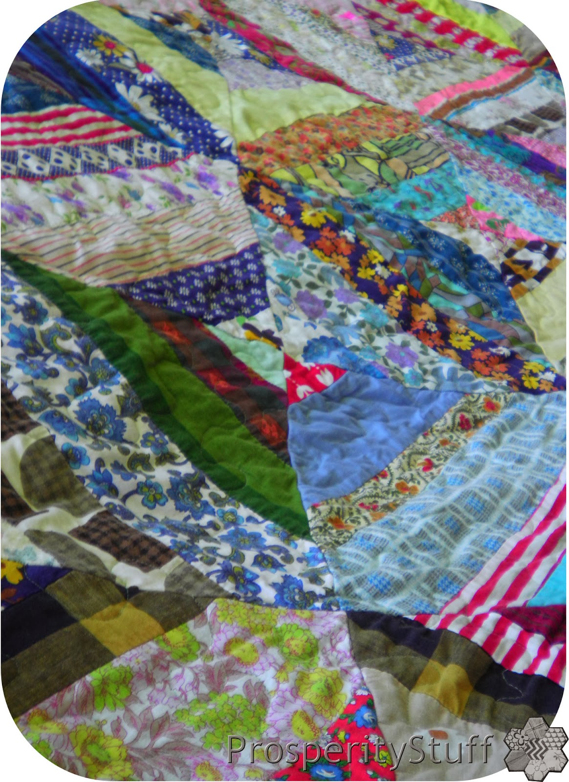 Vintage Scrap Quilt - Strip-Pieced Diamonds