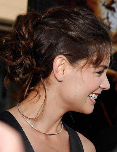katie holmes knotted updo hairstyle