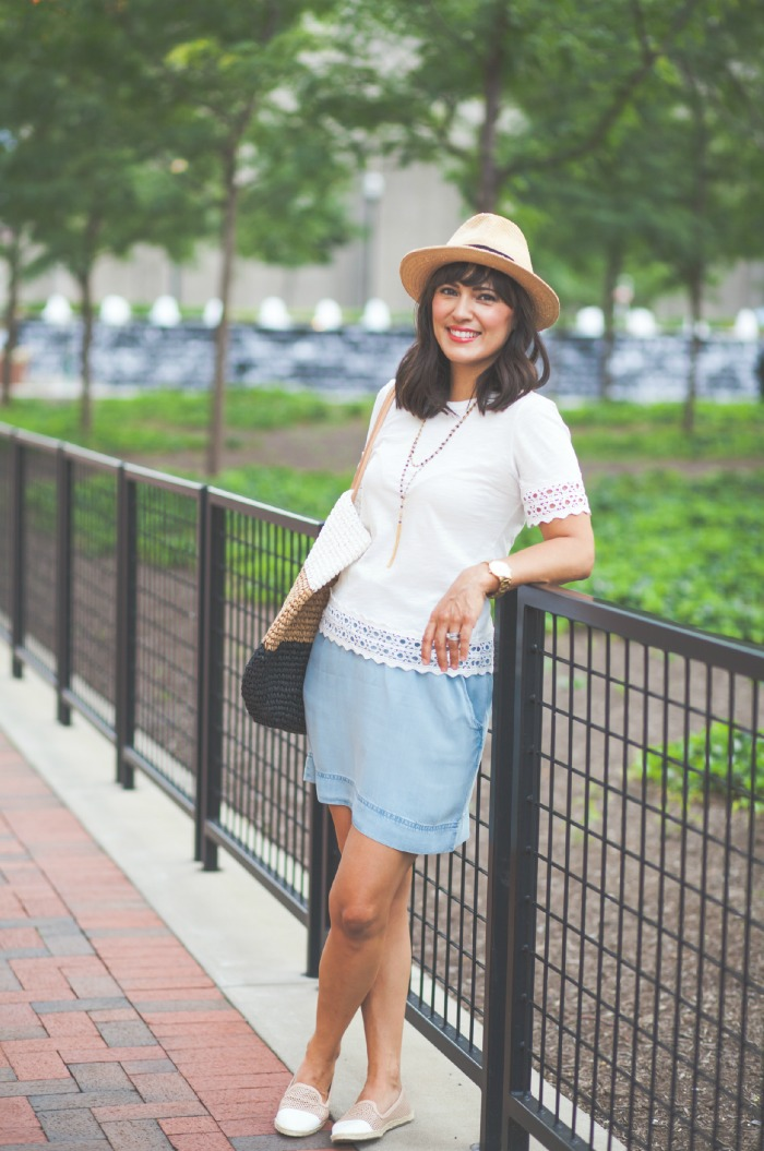 casual summer style - white & chambray