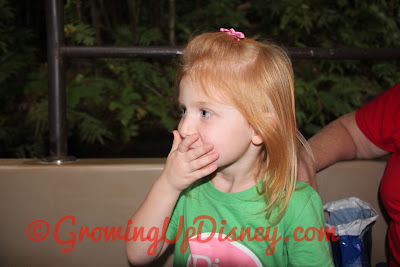 little girl laughing on the Jungle Cruise