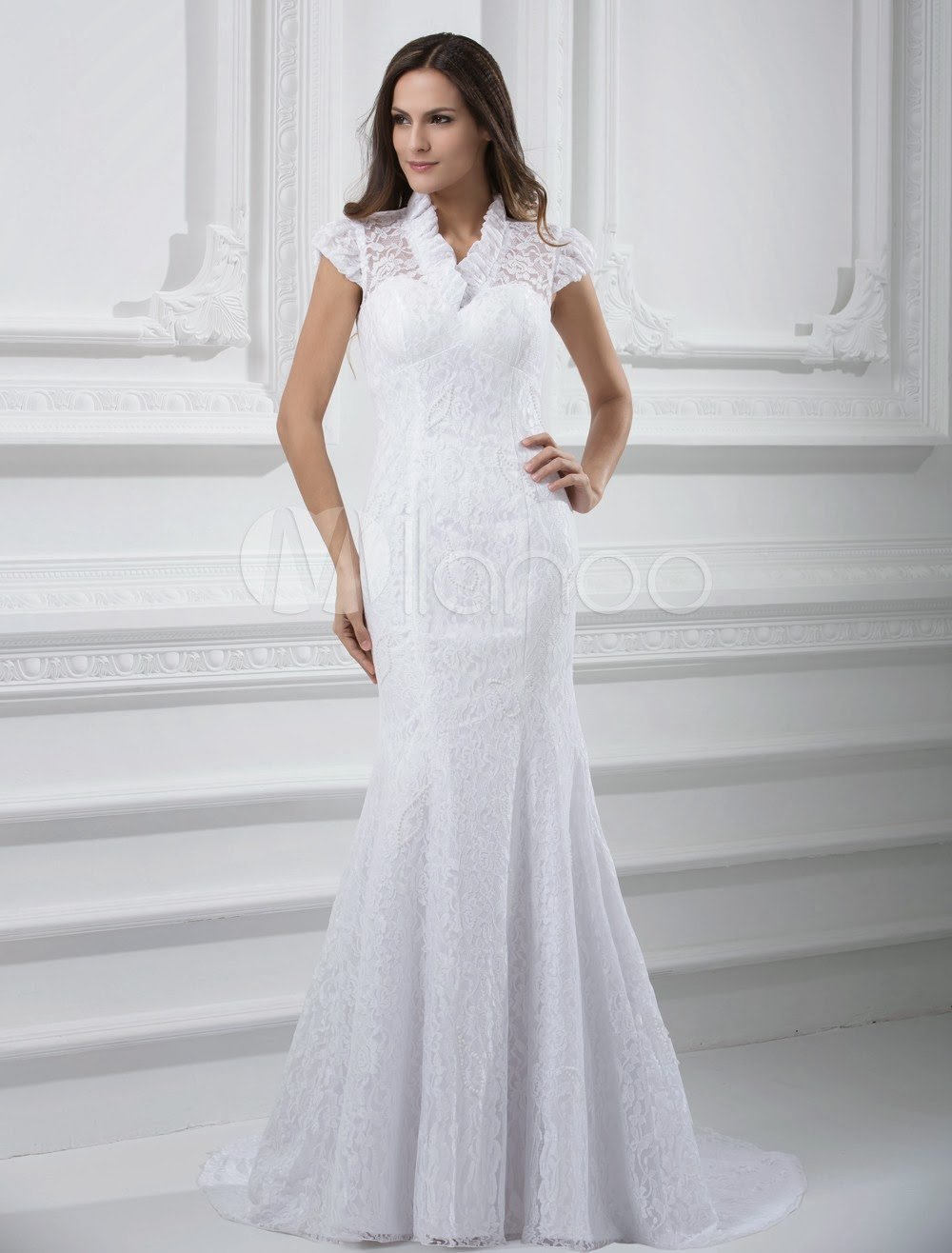 China Wholesale Dresses - Glamorous White Lace Mermaid Wedding Dress For Bride