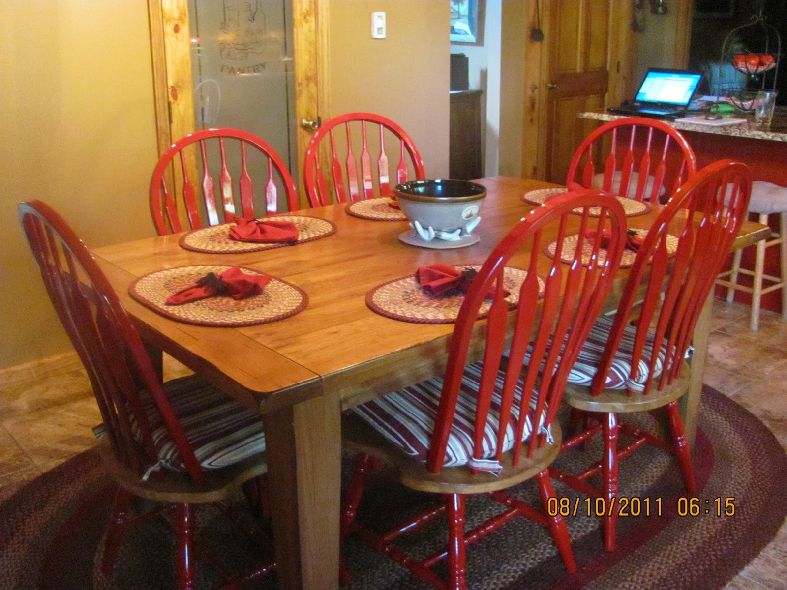 Living the log home dream newly painted kitchen chairs for Painted kitchen chairs