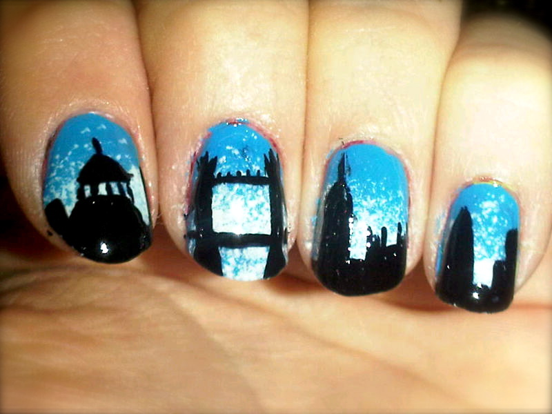 Off the nail nail artist from london view nail art designs london skyline prinsesfo Gallery